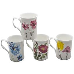 Gracie Bone China Watercolors 9-Ounce Mug, Set of 4