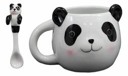 Whimsical China Giant Panda Ceramic Coffee Mug Cup With Spoo