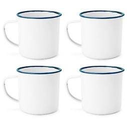 White Enamel Mugs Cups Retro Camping Outdoor Coffee Tea Mug