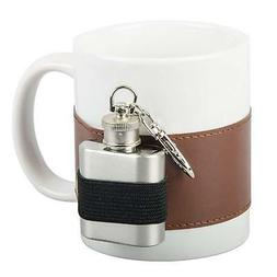 White Extra Shot Novelty Ceramic Mug with Mini Steel Flask S