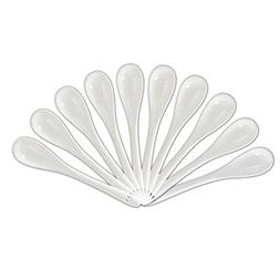 AWHOME White Porcelain Appetizer Spoons 5 Inch Set of 10-For