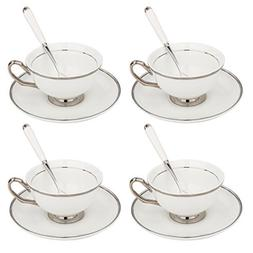 ARTVIGOR 12-Pieces White Silver Rimmed Tea and Coffee Servic