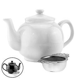 42 Oz White Stoneware Chai Teapot w/ Empress Tea Strainer; 5