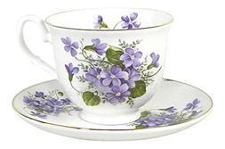Crown Trent Wild Violet Gold Rimmed Teacup and Saucer Set Fi