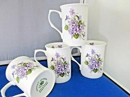 WILD VIOLET set 4  MUGS MADE IN ENGLAND ADDERLEY CERAMICS FI