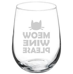 Wine Glass Goblet Funny Cat Meow Wine Please