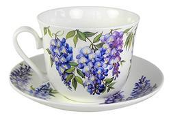 Roy Kirkham Wisteria Flower Breakfast Teacup and Saucer Set