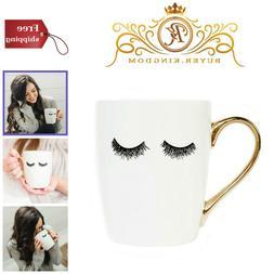 Women Eyelashes Tea Cup Coffee Mug White Gold Handle Inspira