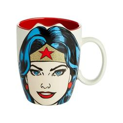 DC Comics Wonder Woman Face 16 oz Coffee Mug New in Box Free