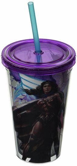 Wonder Woman Plastic Cold Cup with Lid and Straw, 16-Oz - Da