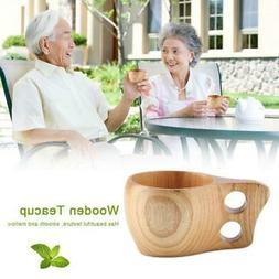 Wooden Tea Coffee Cup Portable Outdoor Natural Wood Drinks D
