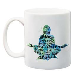 By Being Yourself 15 ounce Quote Mug Meditation Coffee Mug Y